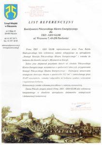 list referencyjny z urzędu miejskiego w Pińczowie - strategia rozwoju Pińczowskiego Klastra Energetycznego