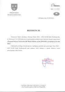 list referencyjny od prezydenta miasta Pabianic - program ochrony środowiska dla miasta pabianic